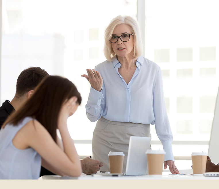Female boss angry with colleagues