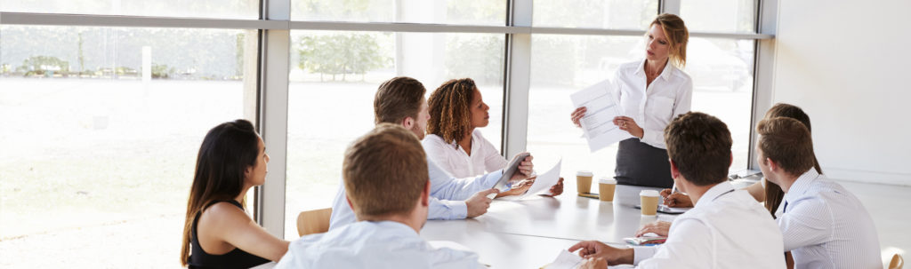 Group meeting with woman presenting